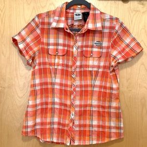 Harley Davidson Orange Plaid ButtonFront Short Top